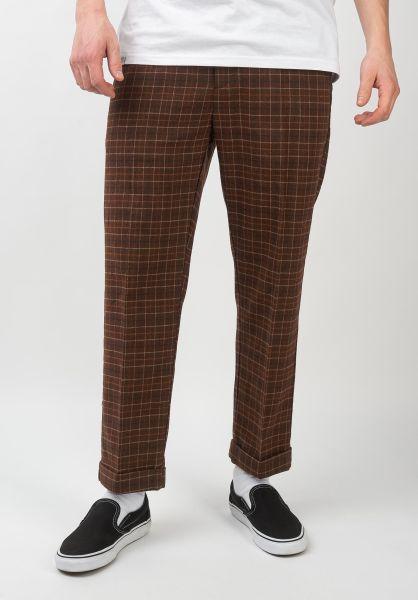 Brixton Chinos und Stoffhosen Trouser Pant brown-plaid vorderansicht 0204135