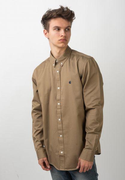 Carhartt WIP Hemden langarm Madison leather-darknavy vorderansicht 0411884