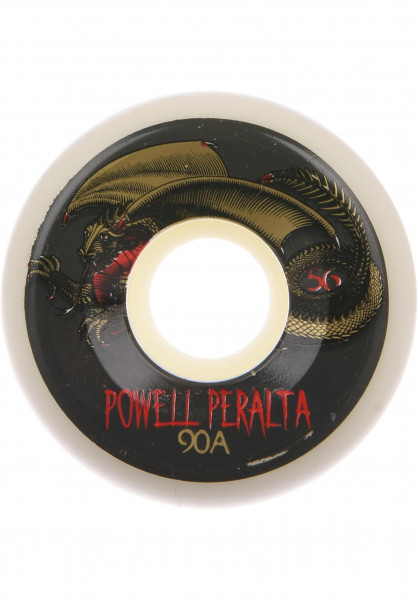 Powell-Peralta Rollen Oval Dragon 90A white-gold Vorderansicht