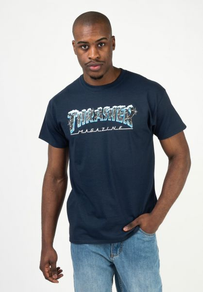 Thrasher T-Shirts Black Ice navy vorderansicht 0322660