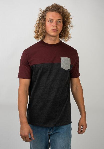 TITUS T-Shirts Colourblock Pocket darkgreymottled-burgundyheather-safari vorderansicht 0398349