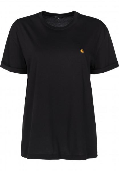 Carhartt WIP T-Shirts W' S/S Chase black-gold Vorderansicht