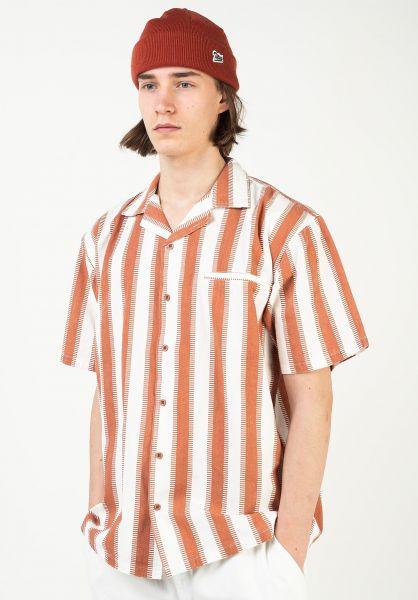 TITUS Hemden kurzarm Kingston beige-camel-stripes vorderansicht 0411919