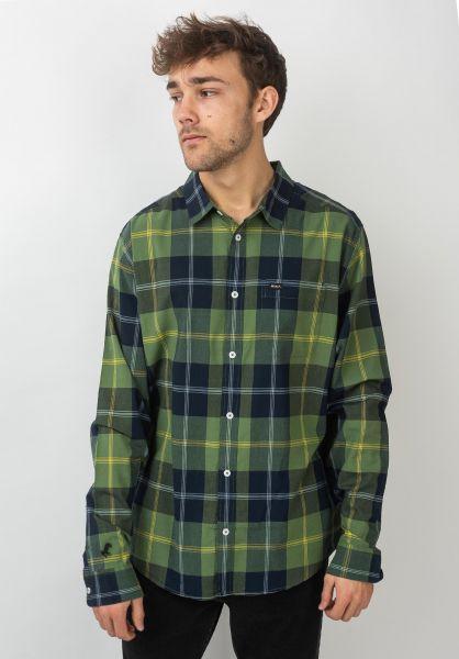 RVCA Hemden langarm Okapi Plaid celticgreen vorderansicht 0411970