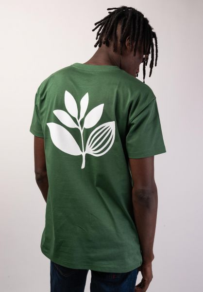 Magenta T-Shirts Classic Plant green-white vorderansicht 0320206
