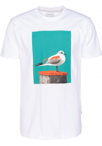 Cleptomanicx T-Shirts Paint Gull white-columbia vorderansicht 0397444