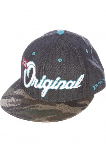 Djinns Caps 6P Snapback Camo Linen black Vorderansicht