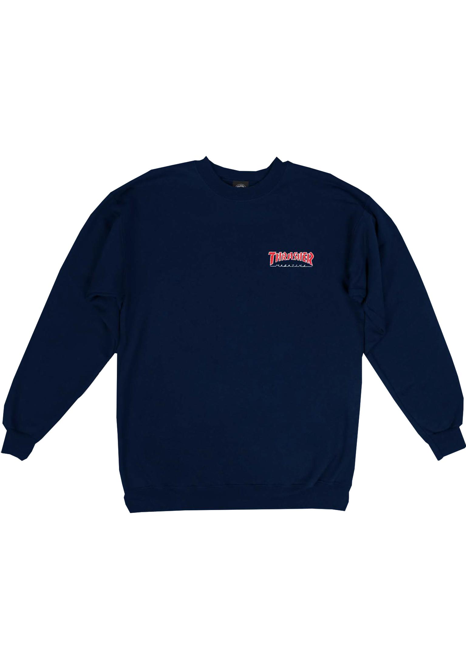 0de997e7e989 Outlined Embroidered Crewneck Thrasher Sweaters and Sweatshirts in navy for  Men | Titus