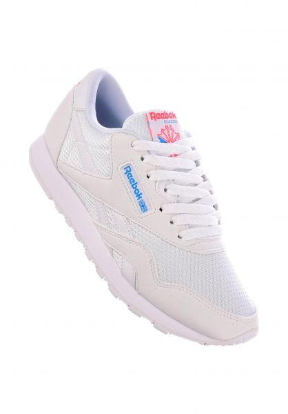 Reebok Alle Schuhe CL Nylon TXT white-californiablue-neonred vorderansicht 0612486