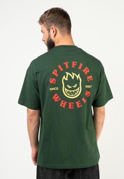 Spitfire T-Shirts Bighead Classic forrestgreen-red-yellow vorderansicht 0383201
