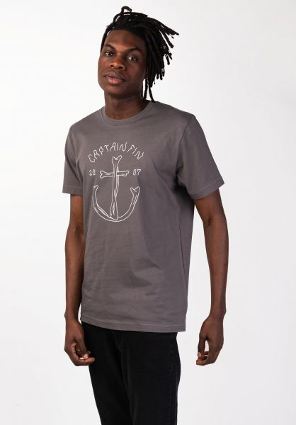 Captain Fin T-Shirts Overboard charcoal vorderansicht 0320271