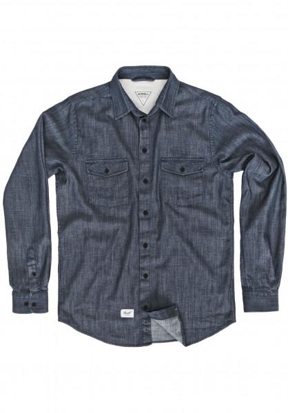 Reell Hemden langarm Hunter darkblue-denim Vorderansicht