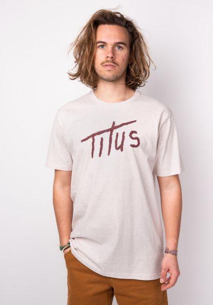 TITUS T-Shirts Brushed Letters beigemottled vorderansicht 0397376