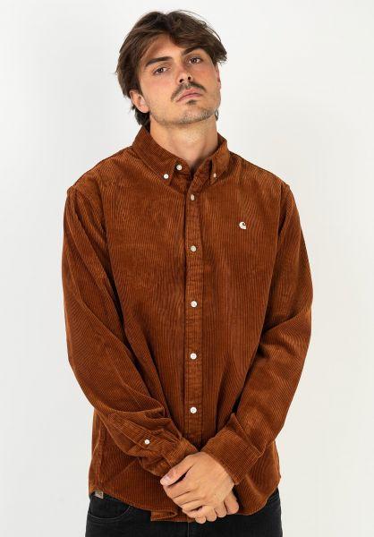 Carhartt WIP Hemden langarm Madison Cord Shirt brandy-wax vorderansicht 0411946