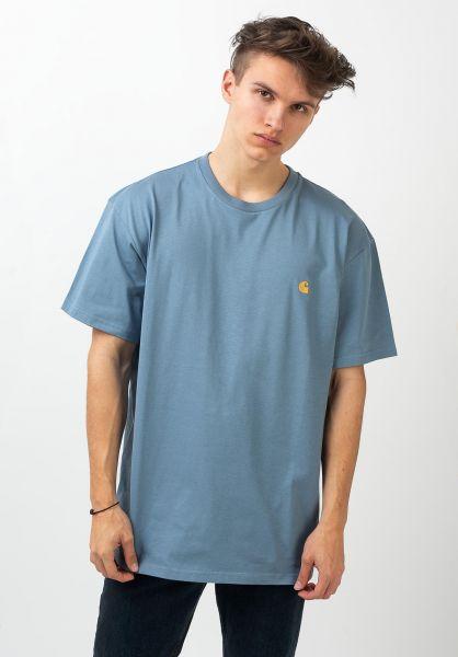 Carhartt WIP T-Shirts Chase mossa-gold vorderansicht 0396618