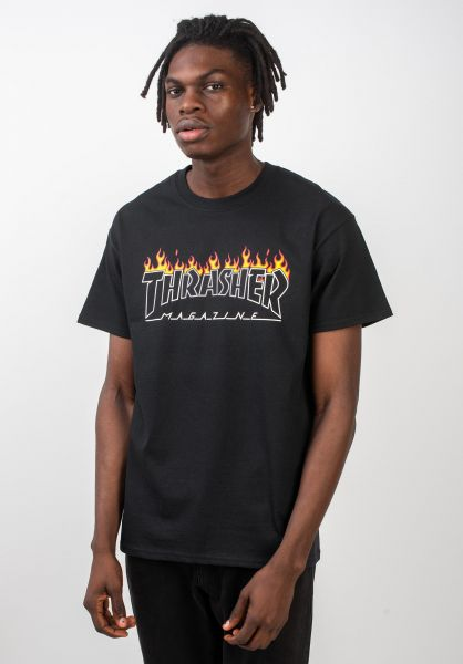 Thrasher T-Shirts Scorched Outline black vorderansicht 0320339
