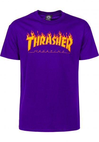 Thrasher T-Shirts Flame purple vorderansicht 0036093
