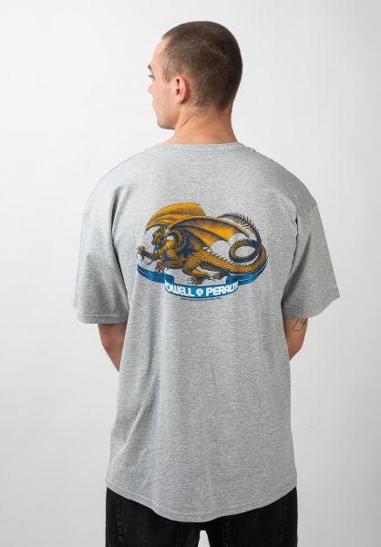 Powell-Peralta T-Shirts Oval Dragon greymottled vorderansicht 0037557