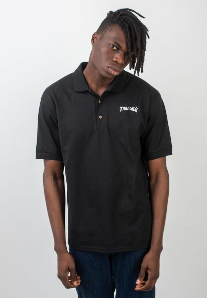Thrasher Polo-Shirts Logo Embroidered black vorderansicht 0138299