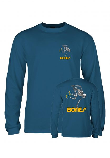Powell-Peralta Longsleeves Skateboard Skeleton Kids harbor-blue vorderansicht 0382832