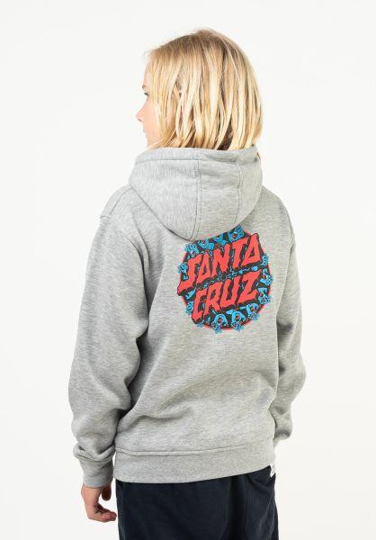Santa-Cruz Hoodies Youth Handy Dot Hood heathergrey vorderansicht 0446250