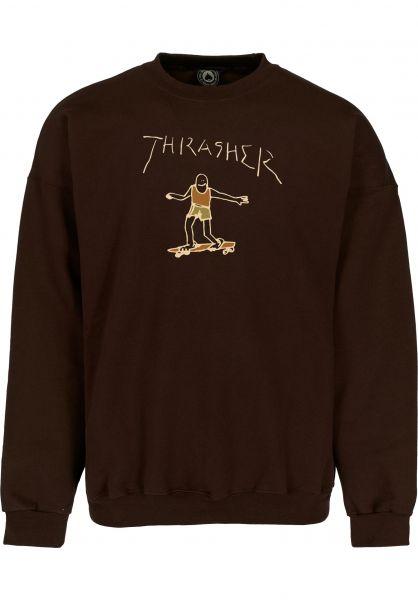 Thrasher Sweatshirts und Pullover Gonz Logo Crewneck dark-chocolate vorderansicht 0423135