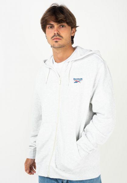 Reebok Zip-Hoodies Small Vector whitemelange rueckenansicht 0454835