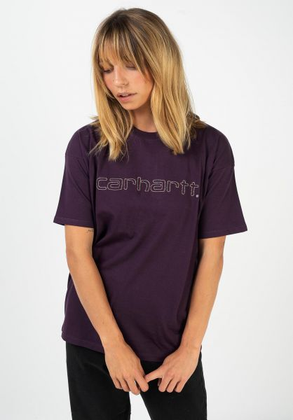 Carhartt WIP T-Shirts W´ Commission Script boysenberry vorderansicht 0322185