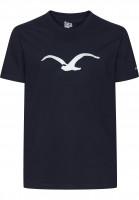 Cleptomanicx T-Shirts Möwe darknavy Vorderansicht