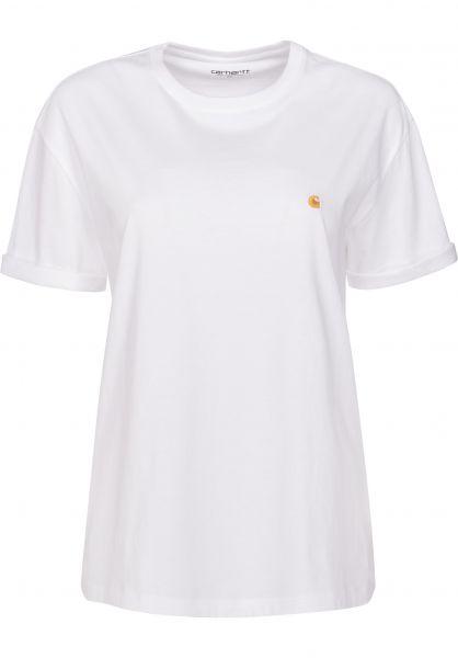 Carhartt WIP T-Shirts W' S/S Chase white-gold Vorderansicht