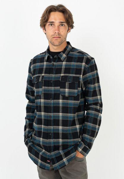Globe Hemden langarm Flannigan washedblack vorderansicht 0412070