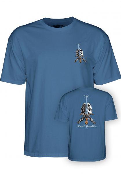 Powell-Peralta T-Shirts Skull & Sword slate-blue vorderansicht 0036035