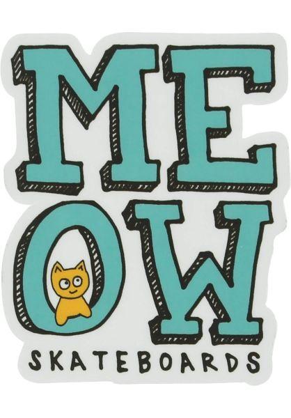 Meow Skateboards Verschiedenes Stacked Logo Sticker white-teal vorderansicht 0972741