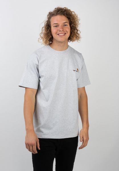 Carhartt WIP T-Shirts American Script ashheather vorderansicht 0399768