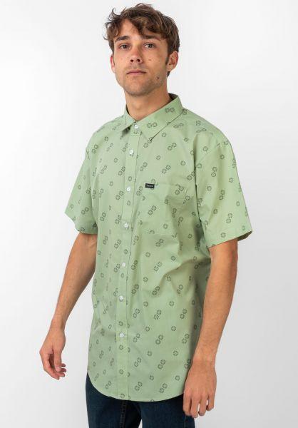 Brixton Hemden kurzarm Charter Print basil vorderansicht 0400896