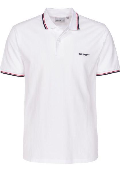 Carhartt WIP Polo-Shirts Script Embroidery white-darknavy-cardinal vorderansicht 0138379