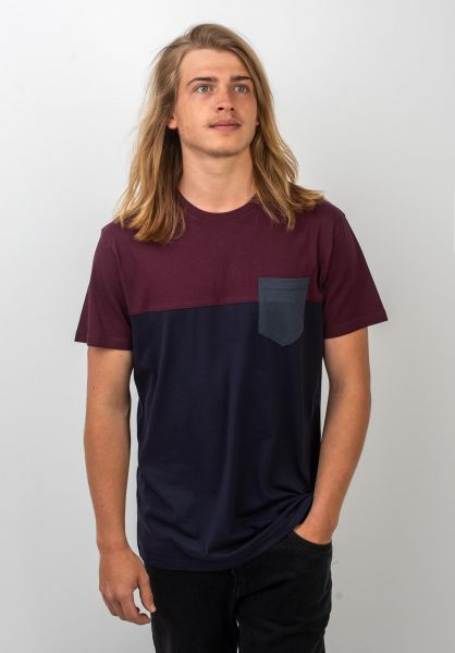 iriedaily T-Shirts Block Pocket navy-wine vorderansicht 0394022