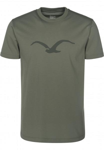 Cleptomanicx T-Shirts Möwe dustyolive Vorderansicht