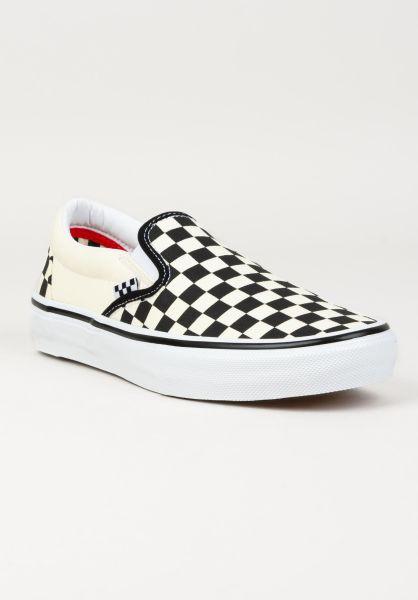 Vans Alle Schuhe Skate Slip-On white-black-checkerboard vorderansicht 0604968