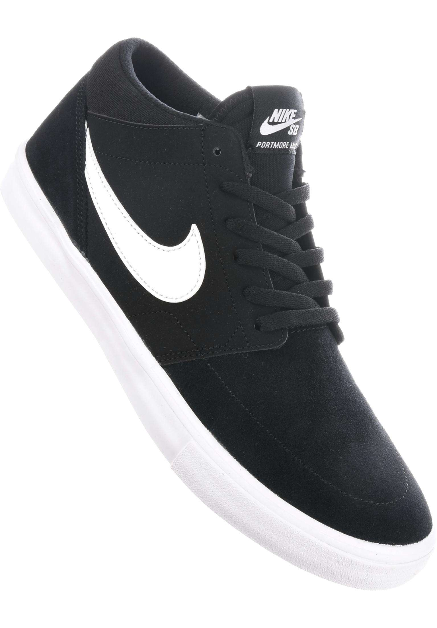 new product 66960 96595 Solarsoft Portmore II Mid Nike SB All Shoes in black-white for Men   Titus