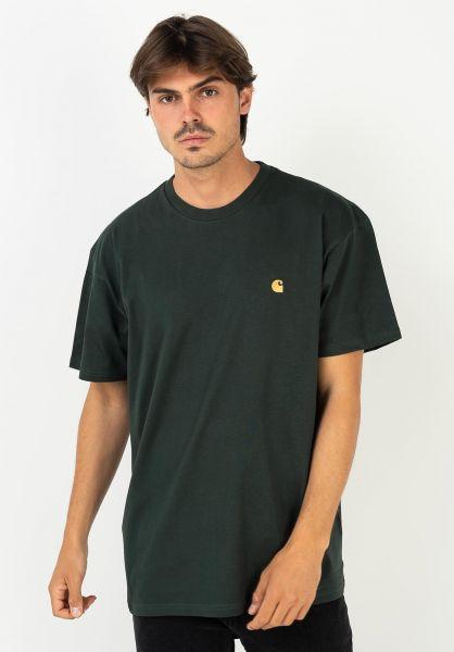 Carhartt WIP T-Shirts Chase darkteal-gold vorderansicht 0396618