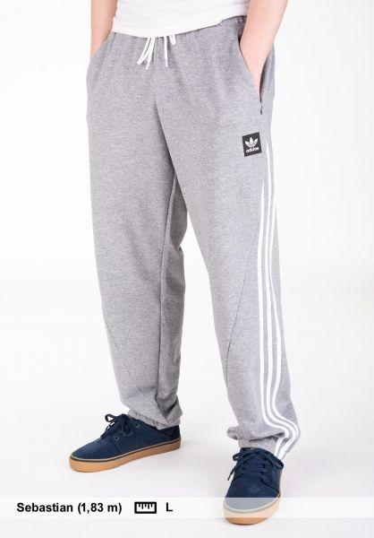 adidas-skateboarding Jogginghosen Insley heathergrey-white vorderansicht 0680206