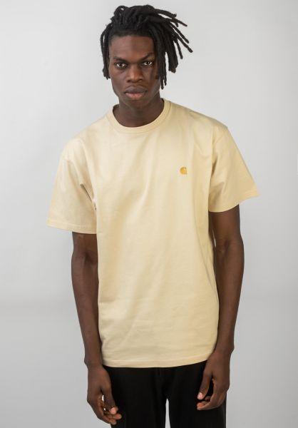 Carhartt WIP T-Shirts Chase flour-gold vorderansicht 0396618