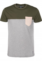 iriedaily T-Shirts Block Pocket olive-rose Vorderansicht