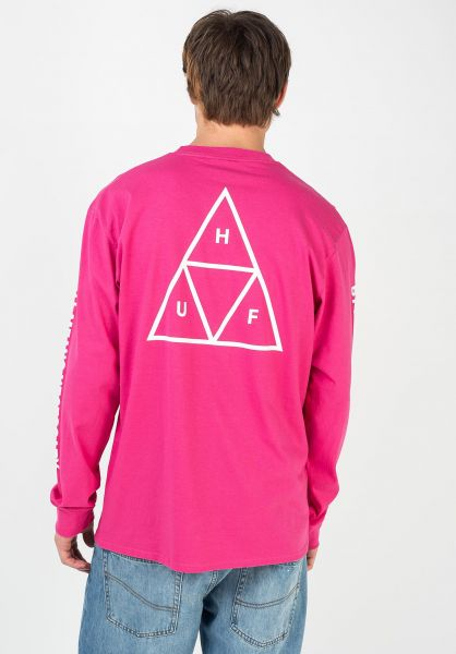 HUF Longsleeves Triple Triangle pink vorderansicht 0382746