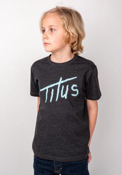TITUS T-Shirts Brushed Letters Kids darkgreymottled vorderansicht 0397392