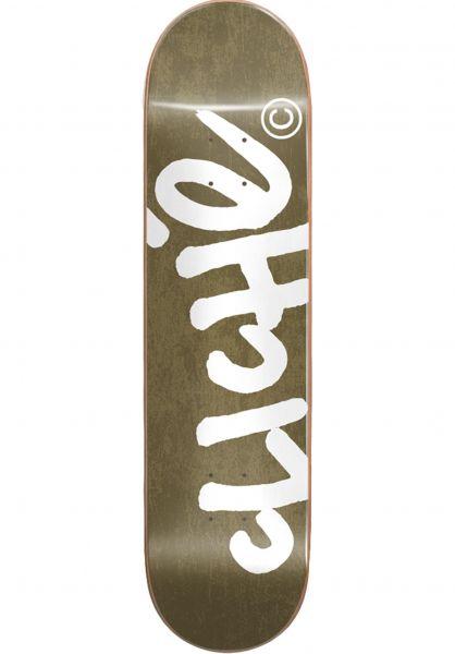 Cliché Skateboard Decks Handwritten gold-white vorderansicht 0261117