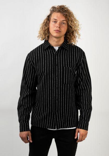 TITUS Hemden langarm Senne black-whitestriped vorderansicht 0411863