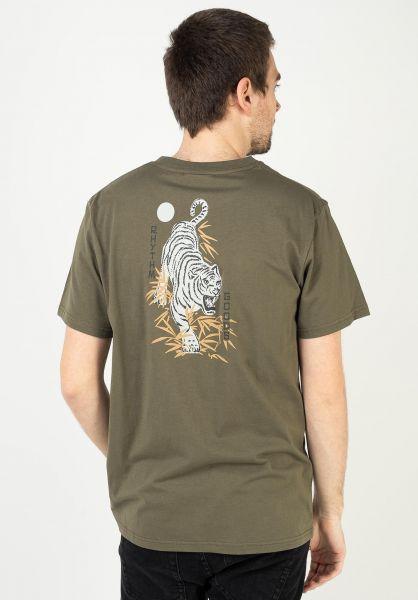 Rhythm T-Shirts Aloha Tiger olive vorderansicht 0323915