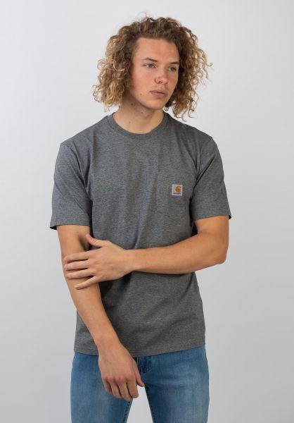 Carhartt WIP T-Shirts Pocket darkgreyheather vorderansicht 0393365